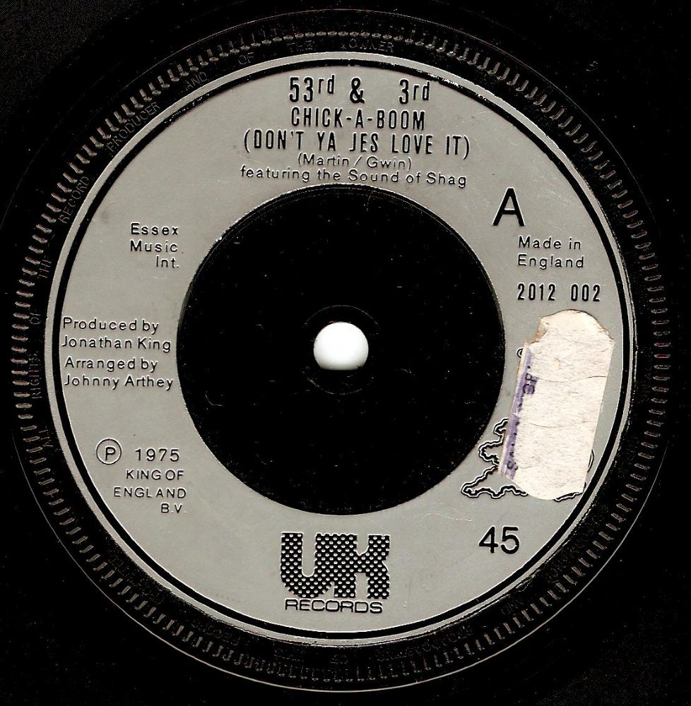 53RD AND 3RD Chick-A-Boom Vinyl Record 7 Inch UK 1975